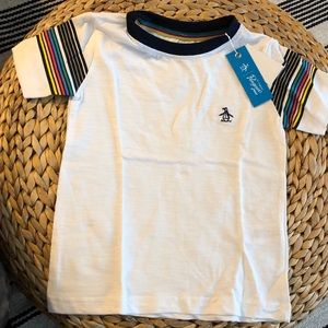Penguin T-shirt with striped sleeves